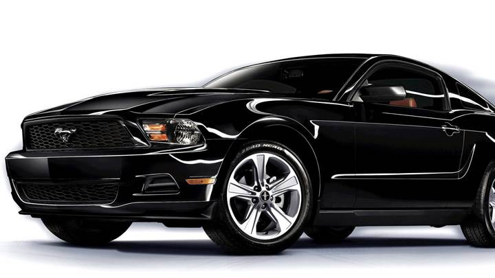 2011 Ford Mustang V6 Front Side Pose in Black